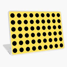 """""""Push the button! Polka dot pattern yellow, black"""" Laptop Skin by cool-shirts 