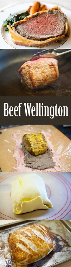 Perfect Beef Wellington! Beef tenderloin fillet, coated with mustard, mushroom duxelles, ham, wrapped in puff pastry and baked. Based on Gordon Ramsey Beef Wellington recipe.
