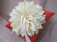 Autumn Orange Ivory Dahlia Ring Bearer Pillow Wedding by Allofyou, $31.00