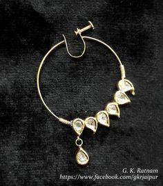 Diamond polki nose ring (also known as nath) | Vilandi Jewelry | Diamond polki jewelry | Bridal jewelry