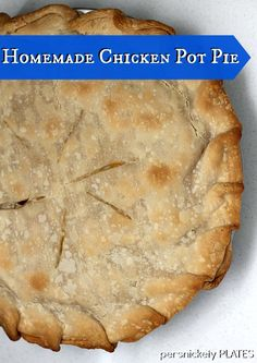 Homemade with the help of a Pillbury premade pie crust, this pot pie is delicious and a perfect comfort food.