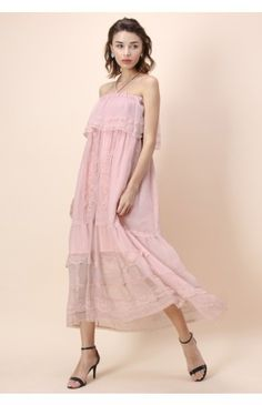 Pinky Ethereal Off-shoulder Maxi Dress - Dress - Retro, Indie and Unique Fashion