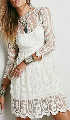 White Crochet Sheer Lace Back Slit Long Sleeve Overlay Dress