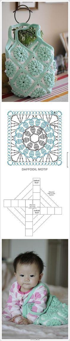 Crochet : Granny Bag - Chart ❥ 4U hilariafina www.pinterest.com...