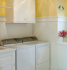 Yellow walls and beadboard for the laundry? Mudroom Laundry Room, Laundry Room Shelves, Laundry Room Remodel, Laundry Room Design, Laundry Area, Small Laundry, Garage Laundry, Attic Remodel, Yellow Laundry Rooms