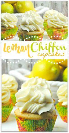 There is something about these Lemon Chiffon Cupcakes that I cannot resist. I don't know if it's the light and airy cream cheese frosting, the soft moist cupcake, or the slightly sweet lemony deliciousness, but I could eat one after every meal. This recip