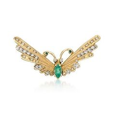 C. 1970 Vintage .96 ct. t.w. Emerald and .70 ct. t.w. Diamond Butterfly Pin In 14kt Yellow Gold
