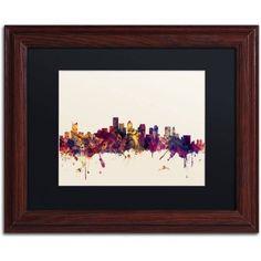 Trademark Fine Art Boston Massachusetts Skyline Iii Canvas Art by Michael Tompsett Black Matte, Wood Frame, Size: 16 x 20, Multicolor