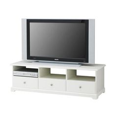 IKEA - LIATORP, TV bench, white, Smooth-running drawers with drawer stops to keep them in place. The opening at the back allows you to easily gather and organise all wires. Combines with other products in the LIATORP system. White Tv Unit, Home, Shelf Furniture, Entertainment Unit, Ikea Entertainment Units, Ikea, Liatorp, Tv Bench, Ikea Tv