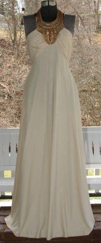 Vintage LILLI DIAMOND Cocktail Party GOLD & RHINESTONES HALTER Draped GRECIAN Dress