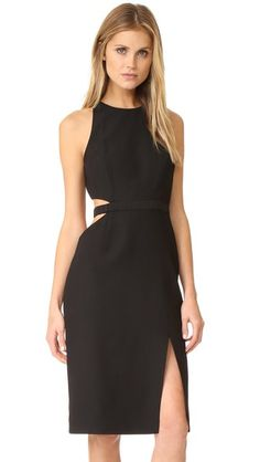Halston Heritage Round Neck Cutout Dress