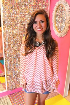 Flowing With Chevron Top in Coral