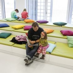 I love the leveled seating...especially in front of the widow. - New Stuttgart City Library