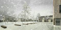 OPERASTUDIO - Project - Social housing in Switzerland - view #render #winter #snow #housing #nopeople