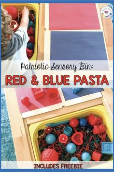 Simple and fun 4th of July Sensory Bin for toddlers, preschool, & pre-k students. Use at home or in your classroom to celebrate Independence Day! These Fourth of July activities for kids are all centered around a bin of blue and red dyed pasta. Directions for dyeing pasta included in this post. I've also included 5 unique sensory activities (that go along with this sensory bin) that focus on math and fine motor skills for you to try. Click thru to read more & have fun celebrating America!