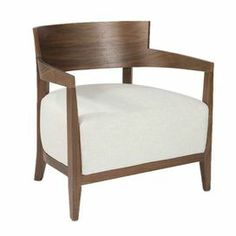 """Showcasing grain detailing and an oversized cushion, this wood-framed arm chair brings contemporary style to your living room or den.     Product: Chair Construction Material: Wood and fabric    Color: Cream and brown       Features:Low-profile silhouetteWoodgrain detailOversized cushion     Dimensions: 27.2"""" H x 23.6"""" W x 26.4"""" D"""