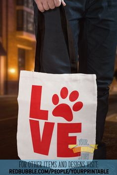 'Love Pets Paw Print Typography Red' Tote Bag by YourPrintable Adoption Party, Pet Adoption, Galentines Day Ideas, Red Tote Bag, Pet Paws, Practical Gifts, Cards For Friends, Love Pet, Printable Cards