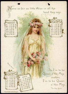 The Tennyson Calendar for 1905 ~ February - May ~ Illustrated by Frances Brundage