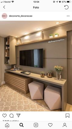 Home theaters sala 58 Ideas Home Theater Planejado Apartamento Pequeno Furniture Placement, Sala, Interior, Home, Small Apartments, Large Homes, Bars For Home, Home Theater, Trendy Home