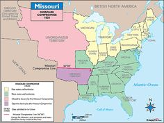 (Missouri Compromise) in Missouri applied for statehood as a slave state, disrupting the representation in Congress and the Senate. An imaginary line was drawn at 36 north latitude at Missouri's southern boarder. All territory to the north had to be free. Us History, History Books, American History, Classroom Fun, Future Classroom, Student Teaching, Teaching Ideas, Missouri Compromise, British North America
