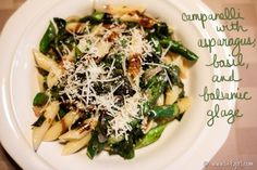 The missing zing: Balsamic-glazed penne with roasted asparagus | Penne ...