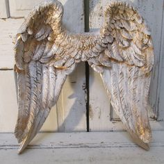 Angel Wings Wall Decor With Heart Shabby Chic Rusty Metal Cottage Mint Sea  Foam Mix Hints Of Gold Anita Spero | Pinterest | Angel Wings Wall Decor, ...