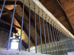 Rebar for stair railings rustic log home