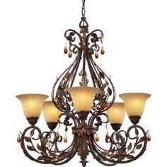Hampton Bay Cristobal Collection Royal Mahogany 5-light Chandelier - Home Depot $353
