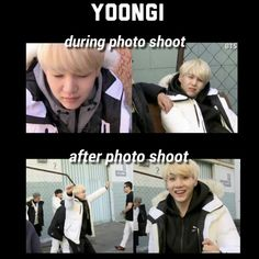 The difference with suga during and after a photo shoot