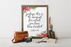 Nursery bible verse, Christian scripture art, Esther 4:14, Bible verse print, Scripture printable, Bible verse art, Hand lettering BD-637