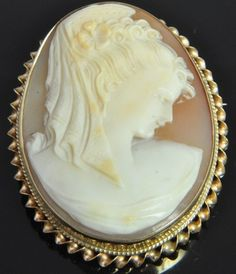 Antique 14k Yellow Gold Carved Shell Cameo Art Nouveau Oval Brooch Pin Pendant