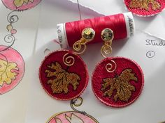machine embroidered earrings LilysEmbroidery