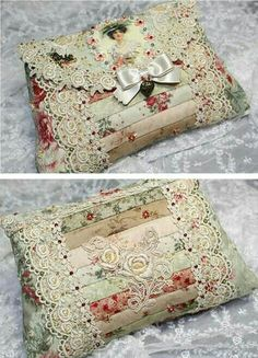 Small vintage style bag made with lace, ribbon, vintage photo, cloth strips