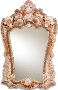 Beachcomber Shell Mirror.  A practical, functional size mirror is made special with the use of striking shell ornamentation.