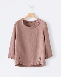 Washed coral linen shirt