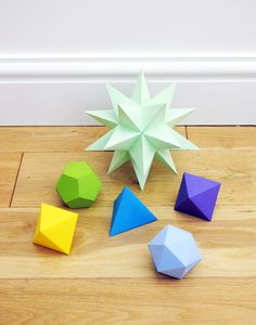 DIY 3D Stellated dodecahedron from craft paper (print out template)