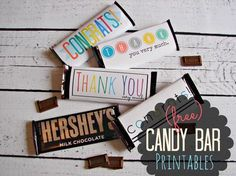 "Free Candy Bar Wrapper ""Thank You"" and ""Congrats"" Printables!  