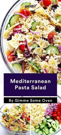 Perfect side dish or lunch, Mediterranean pasta salad Whether you're a BBQ, barbecue, or barbeque kind of person, the food at your cookout will be the same. And not much of it will be healthy. unless you opt for these recipes. Healthy Bbq Recipes, Vegetarian Salad Recipes, Healthy Pastas, Healthy Side Dishes, Side Dish Recipes, Eat Healthy, Bbq Recipes Sides, Bbq Vegetarian, Cookout Side Dishes