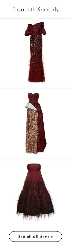 """""""Elizabeth Kennedy"""" by bliznec ❤ liked on Polyvore featuring dresses, gowns, evening gown, burgundy, burgundy evening gown, red ball gown, burgundy evening dress, off the shoulder gown, red evening dresses and brown strapless dress"""