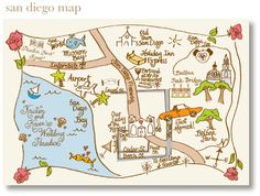 Laura Hooper Calligraphy hand-drawn map of San Diego