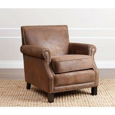 Abbyson Chloe Antique Brown Fabric Club Chair - Free Shipping Today - Overstock.com - 16980818 - Mobile