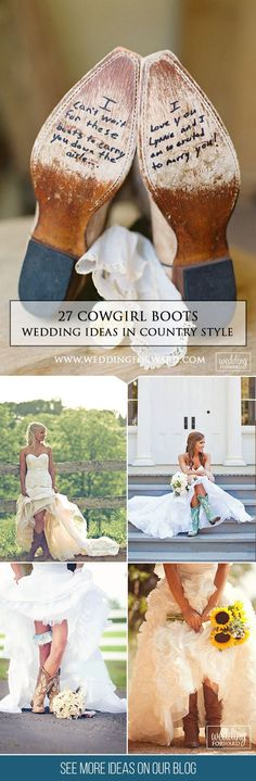 27 Cowgirl Boots Wedding Ideas For Country Weddings❤ Need some ideas how to add fall country spirit to your wedding look? Then you need to see our gallery of cowgirl boots wedding ideas to find your pair! See more: http://www.weddingforward.com/cowgirl-boots-wedding-ideas #weddings #rustic #ILoveWeddings
