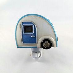 Retro Lites Vintage Blue & White Tear Drop Camper Night Light