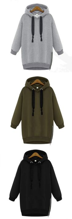 Sports Drawstring Hooded Long Sleeve Solid Women Pullover Casual Hoodies