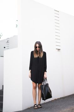 Birkenstock Outfit Inspiration #birkenstocks #repeatoffender #howtostyle #howtowear #ootd #outfitinspiration #modernlegacy #blackonblack #shirtdress