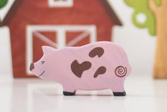 Farm Animals Pig Educational toy Miniature by WoodenCaterpillar