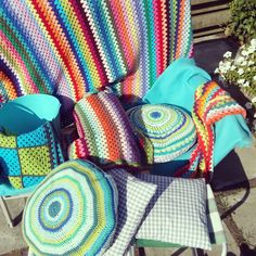 All my crochet blankets   from our caravan !