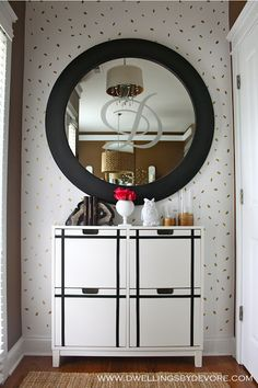 Especially love the letter on the mirror + electrical tape & IKEA cabinet DIY