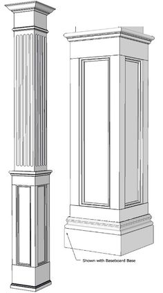 trim detail – square columns, interior wood columns, decorative