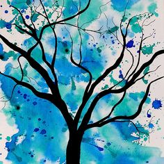 Blue Abstract Tree Drawing. Acrylic painting by Tracey Lee Art Designs. Available on various products.